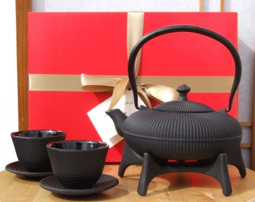 Gift Box - Zen Mountain Tetsubin Cast Iron black teapot kettle star trivet and Zen ripple cups - Jap